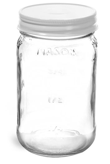 Clear Glass Mason Jars w/ White Metal Plastisol Lined Caps'