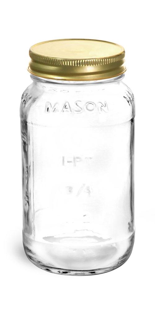 25 oz Clear Glass Mason Jars w/ Gold Metal Plastisol Lined Caps