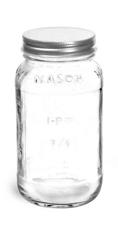 25 oz Clear Glass Mason Jars w/ Silver Metal Plastisol Lined Caps