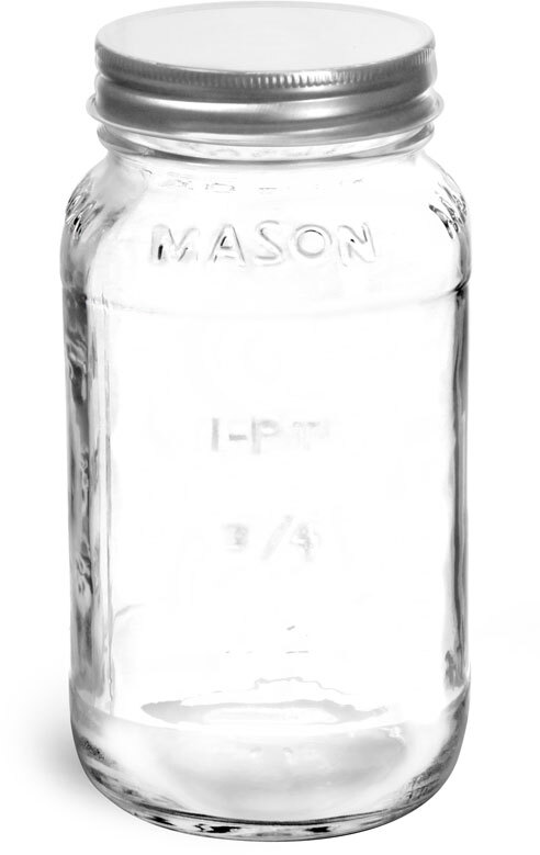 Clear Glass Mason Jars w/ Silver Metal Plastisol Lined Caps