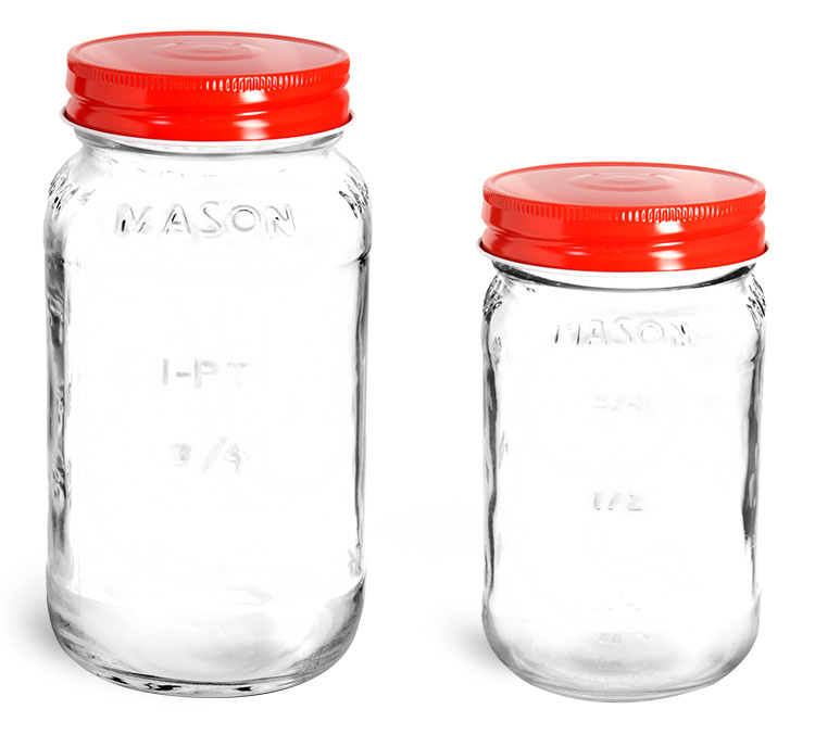 Glass Jars, Clear Glass Mason Jars w/ Red Metal Plastisol Lined Caps'