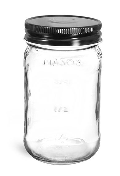 Clear Glass Jars, Clear Glass Mason Jars w/ Black Metal Plastisol Lined Caps