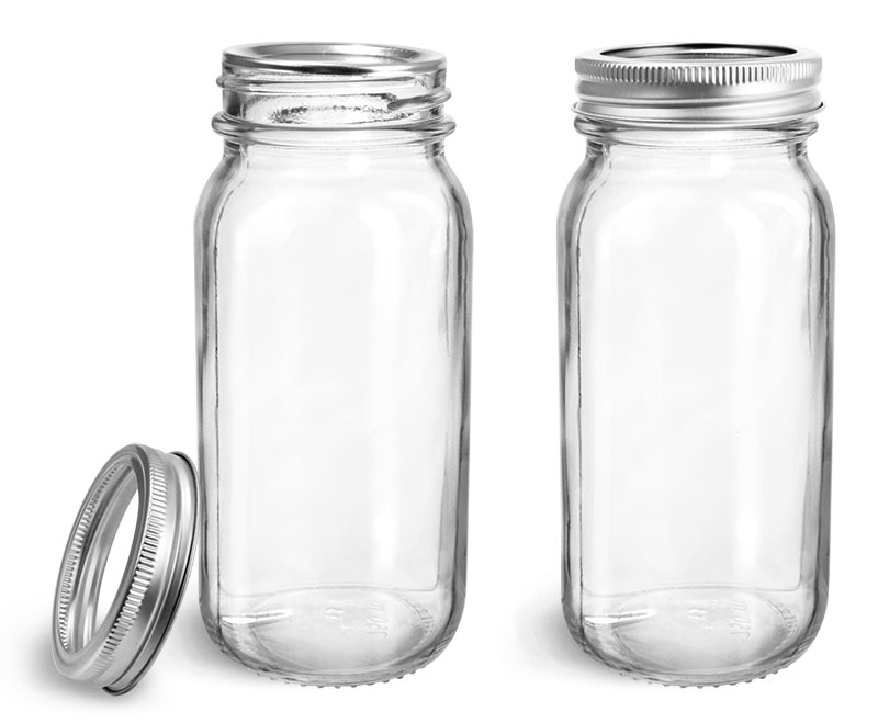 Clear Glass Jars, Clear Glass Mayberry Jars w/ Silver Two Piece Canning Lids