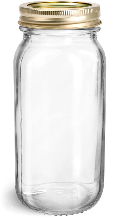 Glass Jars, Clear Glass Mayberry Jars w/ Gold Two Piece Canning Lids