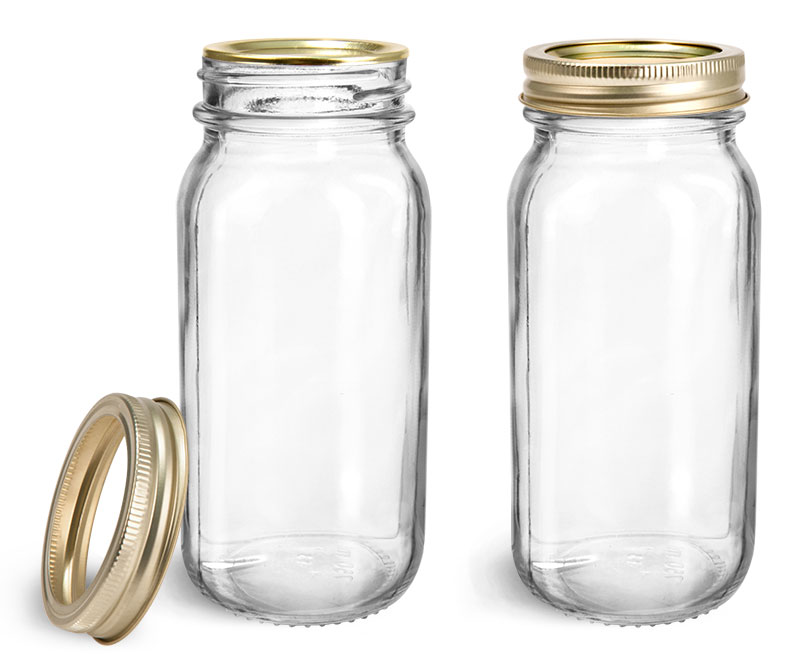 Clear Glass Jars, Clear Glass Mayberry Jars w/ Gold Two Piece Canning Lids