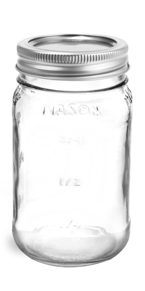 Glass Jars, Clear Glass Mason Jars w/ Silver Two Piece Canning Lids