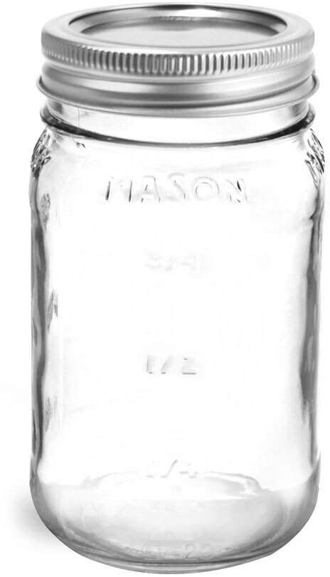 Glass Jars, Clear Glass Mason Jars w/ Silver Two Piece Canning Lids