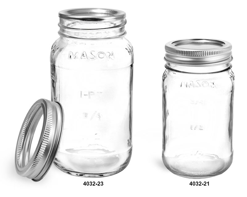 Clear Glass Jars, Clear Glass Mason Jars w/ Silver Two Piece Canning Lids