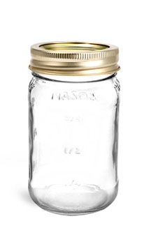 Clear Glass Jars, Clear Glass Mason Jars w/ Gold Two Piece Canning Lids