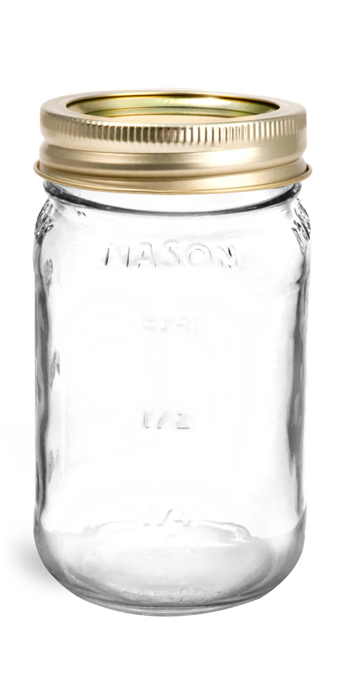 Glass Jars, Clear Glass Mason Jars w/ Gold Two Piece Canning Lids