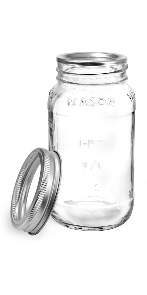 25 oz Glass Jars, Clear Glass Mason Jars w/ Silver Two Piece Canning Lids