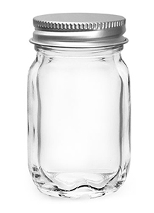 Clear Glass Jars, Clear Glass Mayberry Jars w/ Silver Metal PE Lined Caps