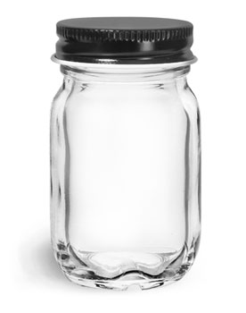 Glass Jars, Clear Glass Mayberry Jars w/ Black Metal Plastisol Lined Caps