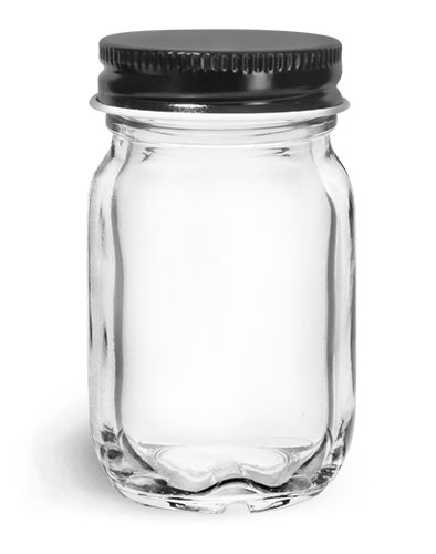 Clear Glass Jars, Clear Glass Mayberry Jars w/ Black Metal Plastisol Lined Caps