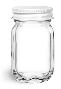 Clear Glass Jars, Clear Glass Mayberry Jars w/ White Metal Plastisol Lined Caps