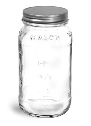 Clear Glass Jars, Clear Glass Mason Jars w/ Unlined Antique Pewter Metal Closures