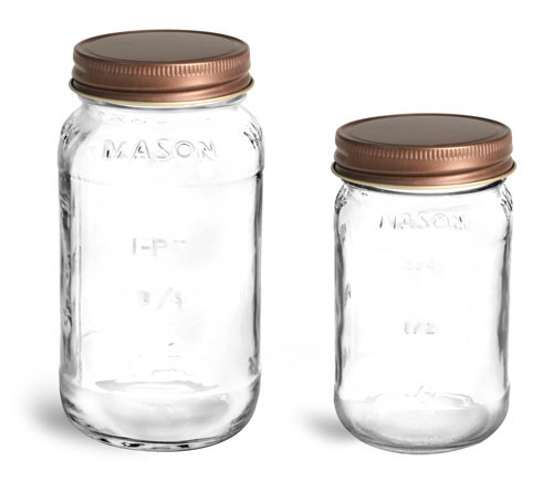 Clear Glass Jars, Clear Glass Mason Jars w/ Unlined Rustic Bronze Metal Closures