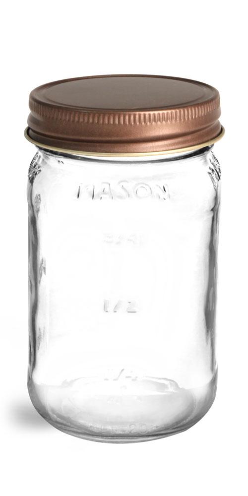 Glass Jars, Clear Glass Mason Jars w/ Rustic Bronze Unlined Metal Closures