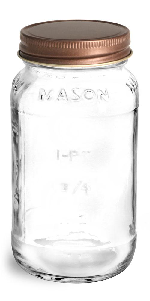 25 oz Glass Jars, Clear Glass Mason Jars w/ Rustic Bronze Unlined Metal Closures