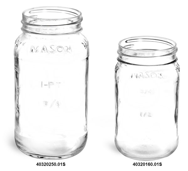 Clear Glass Mason Jars (Bulk), Caps NOT Included