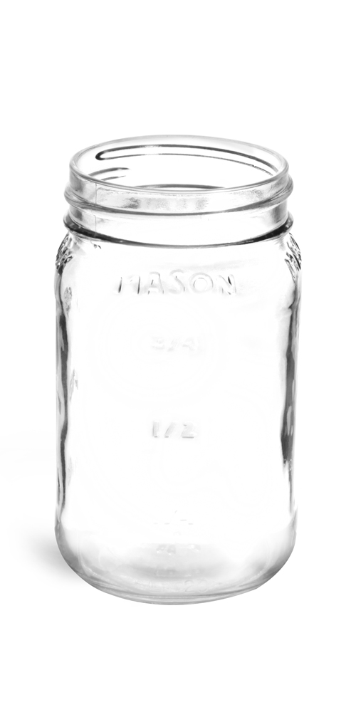 16 oz Flint Glass Mason Jars 70/450 (Bulk), Caps NOT Included