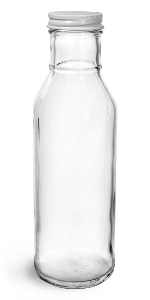 12 oz Glass Bottles, Clear Glass Barbecue Sauce Bottles w/ Lined Metal Caps