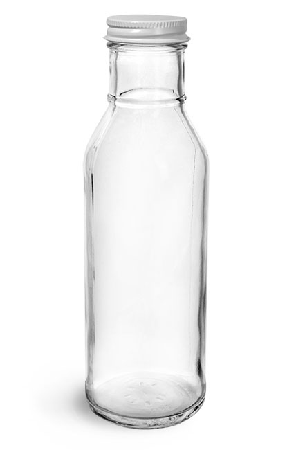 Glass Bottles, Clear Glass Barbecue Sauce Bottles w/ Lined Metal Caps