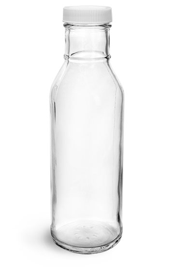 Glass Bottles, Clear Glass Barbecue Sauce Bottles w/ White Ribbed Lined Caps