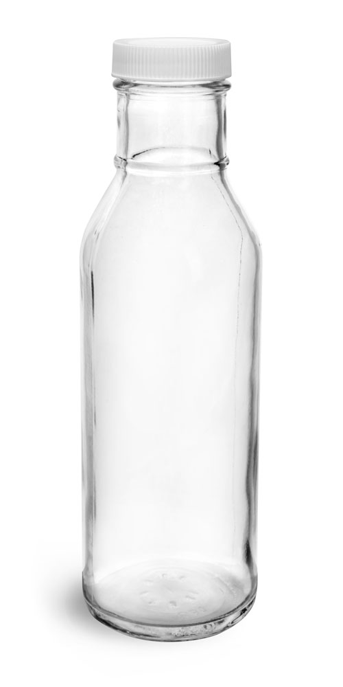 12 oz, White Plastic PE Lined Caps Clear Glass Barbecue Sauce Bottles w/ Lined Plastic or Metal Caps