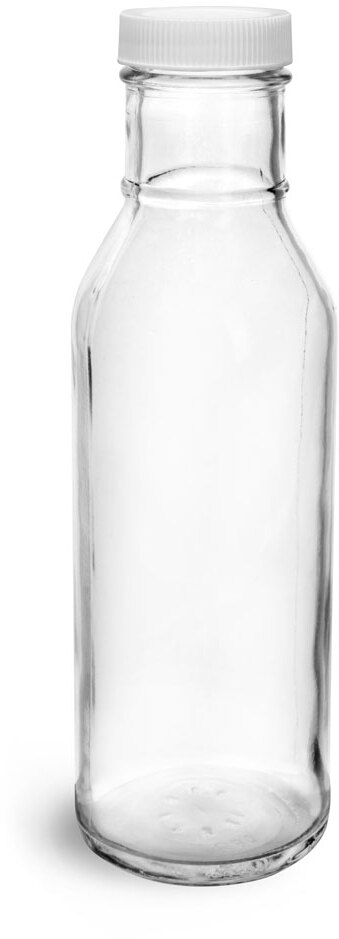 Clear Glass Barbecue Sauce Bottles w/ Lined Plastic or Metal Caps
