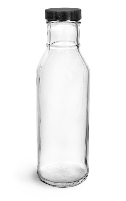 Glass Bottles, Clear Glass Barbecue Sauce Bottles w/ Ribbed Black Lined Caps
