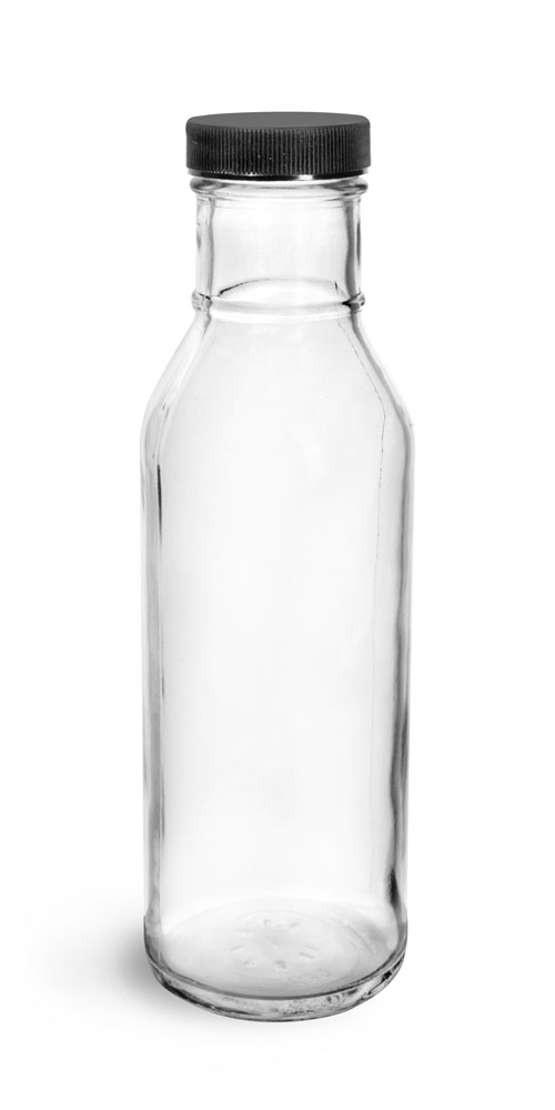 12 oz Clear Glass Barbecue Sauce Bottles w/ Ribbed Black Lined Caps