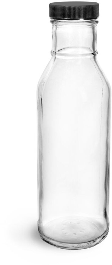 Clear Glass Barbecue Sauce Bottles w/ Ribbed Black Lined Caps