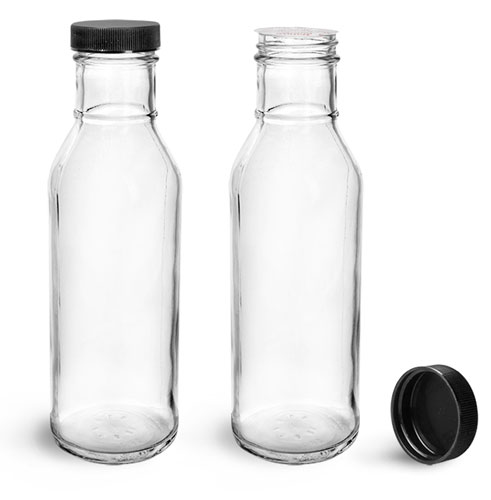 Glass Bottles, Clear Glass Barbecue Sauce Bottles w/ Black Induction Lined Caps