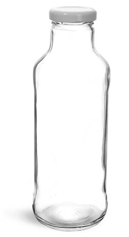 Glass Bottles, Clear Glass Tall Sauce/ Beverage Bottles w/ White Metal Plastisol Lined Lug Caps