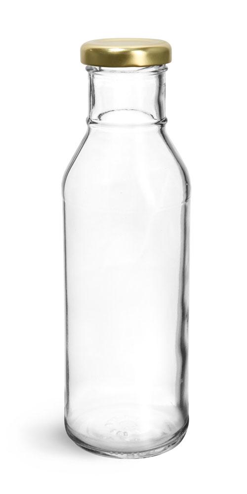12 oz Clear Glass BBQ Sauce Bottles w/ Gold Metal Lug Caps