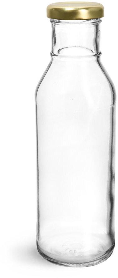 Clear Glass BBQ Sauce Bottles w/ Gold Metal Lug Caps