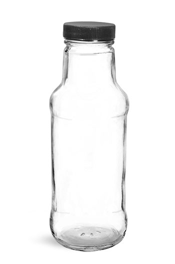 Glass Bottles, Clear Glass Beverage Bottles w/ Black Ribbed PE Lined Caps