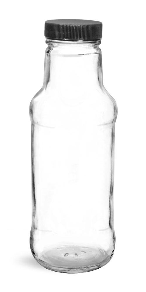 10 oz Glass Bottles, Clear Glass Beverage Bottles w/ Black Ribbed PE Lined Caps