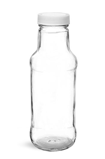 Glass Bottles, Clear Glass Beverage Bottles w/ White Ribbed PE Lined Caps