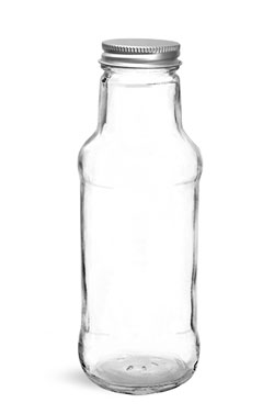 Glass Bottles, Clear Glass Beverage Bottles w/ Lined Aluminum Caps