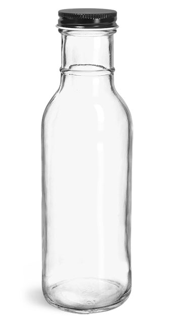 Glass Bottles, Clear Glass Barbecue Sauce Bottles w/ Black Metal Plastisol Lined Caps