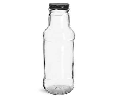 Glass Bottles, Clear Glass Beverage Bottles w/ Black Metal Plastisol Lined Caps