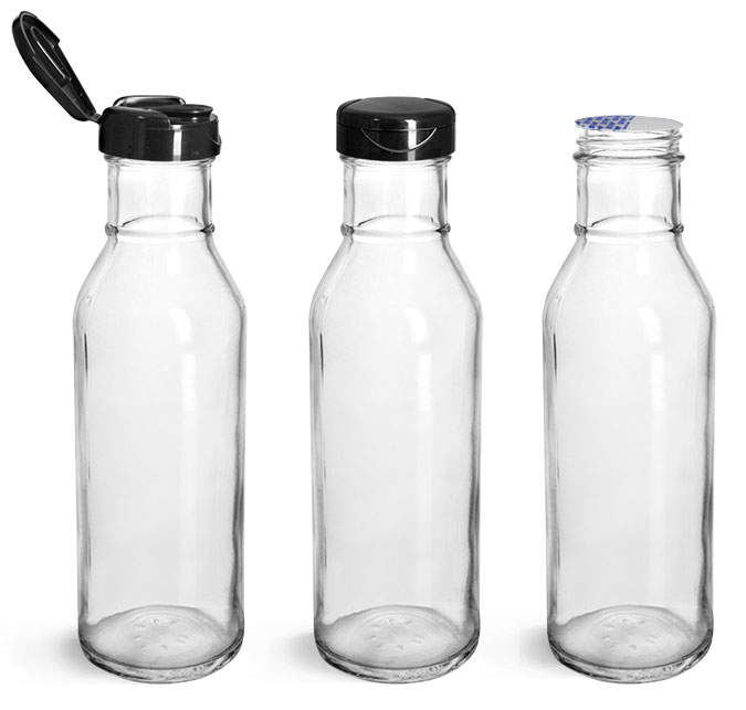 Glass Bottles, Glass Barbecue Sauce Bottles w/ Black PP Lift 'n' Peel™ Lined Snap Top Caps