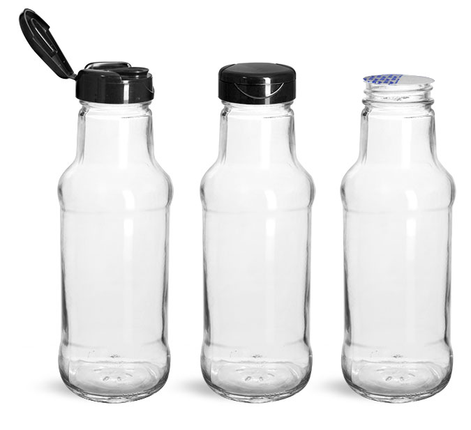 Glass Bottles, Glass Sauce/Beverage Bottles w/ Black PP Lift 'n' Peel™ Lined Snap Top Caps