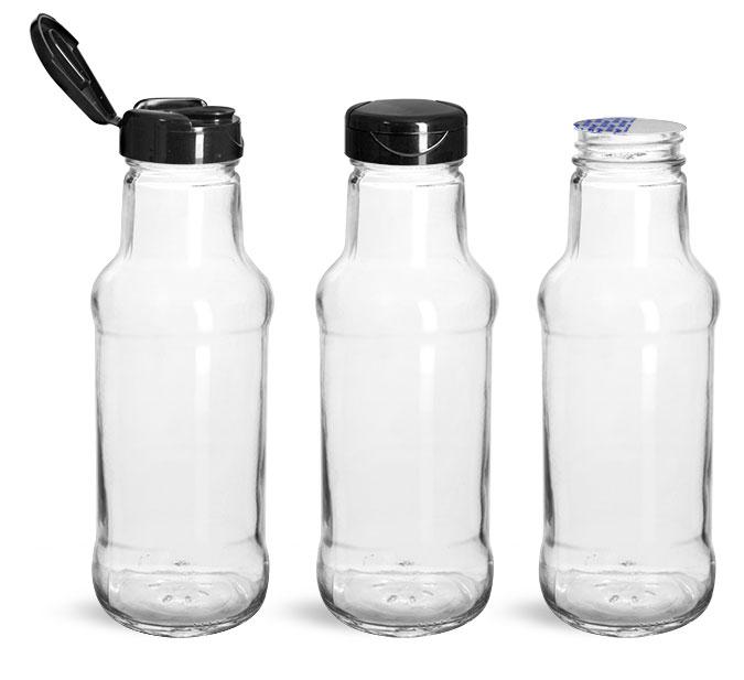 Glass Bottles, Glass Sauce/Beverage Bottles w/ Black PP Lift 'n' Peel™ Lined Snap Top Caps