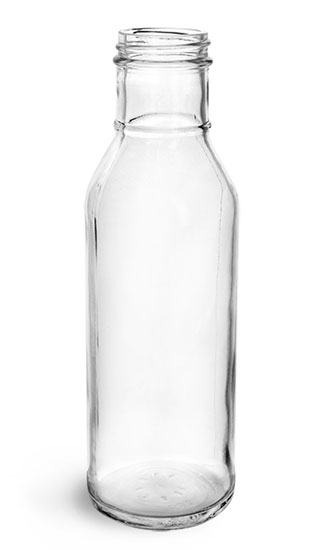 Glass Bottles, 12 oz Clear Glass Lug Thread Barbeque Sauce Bottles, (Bulk) Caps NOT Included