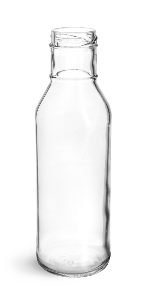 12 oz Clear Glass Lug Finish BBQ Sauce Bottles, (Bulk) Caps NOT Included