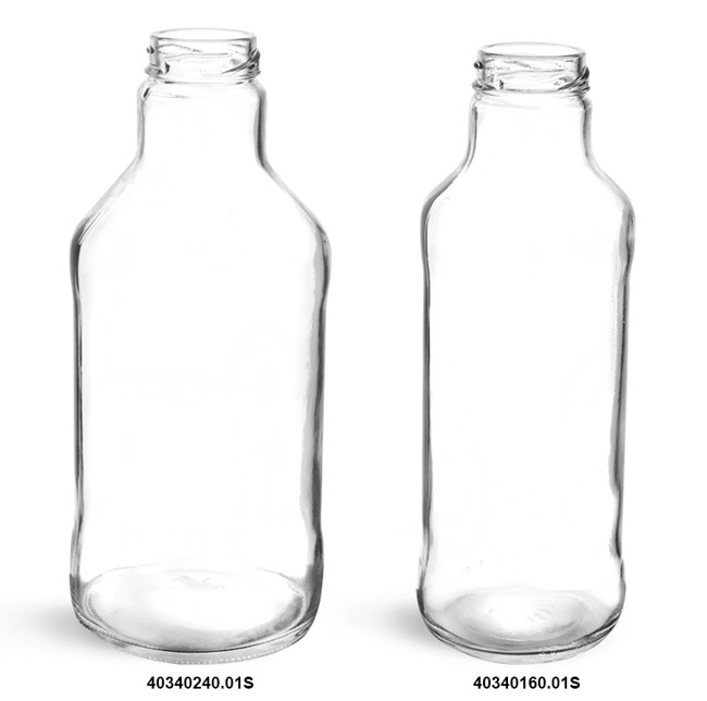 Clear Glass Beverage Bottles (Bulk), Caps NOT Included