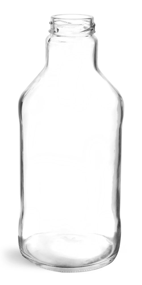 24 oz Clear Glass Beverage Bottles (Bulk), Caps NOT Included